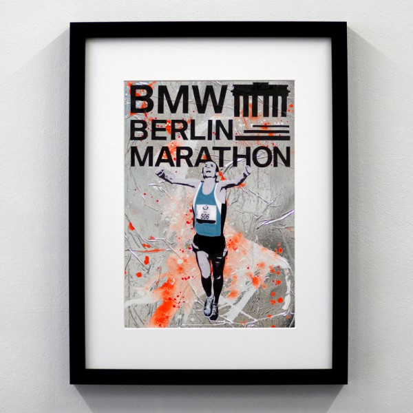 Berlin Marathon Logo Silber Orange