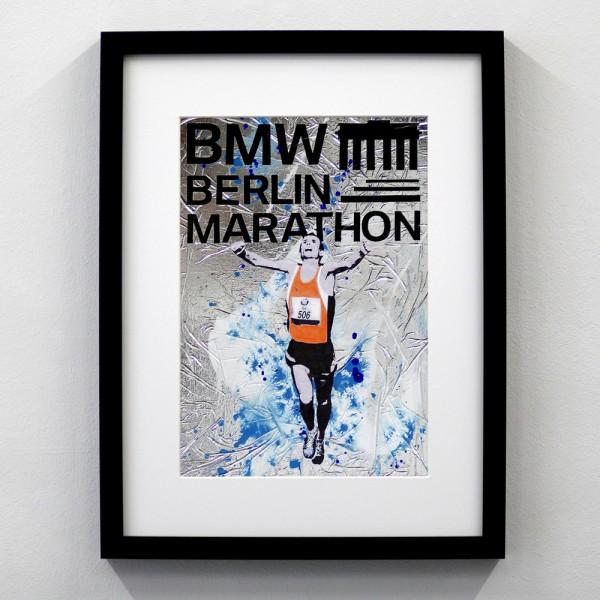 Berlin Marathon Logo Silber Blau
