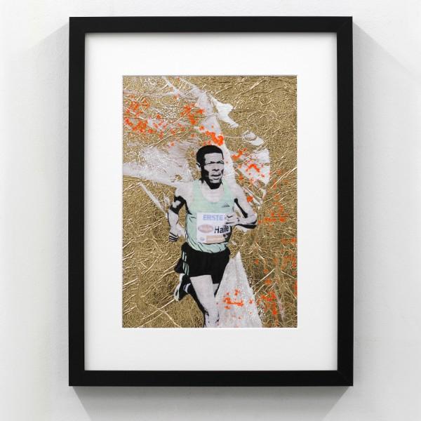 Läufer-Portrait auf Gold