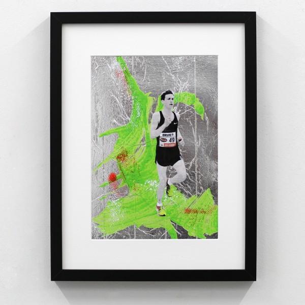 Läufer-Portrait Silber mit Grün