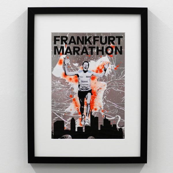 Frankfurt Marathon Logo Silber Orange