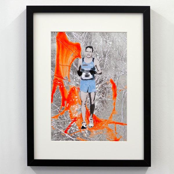 Läufer-Portrait Silber mit Orange