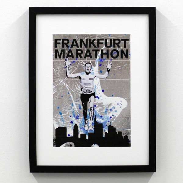 Frankfurt Marathon Logo Silber Blau