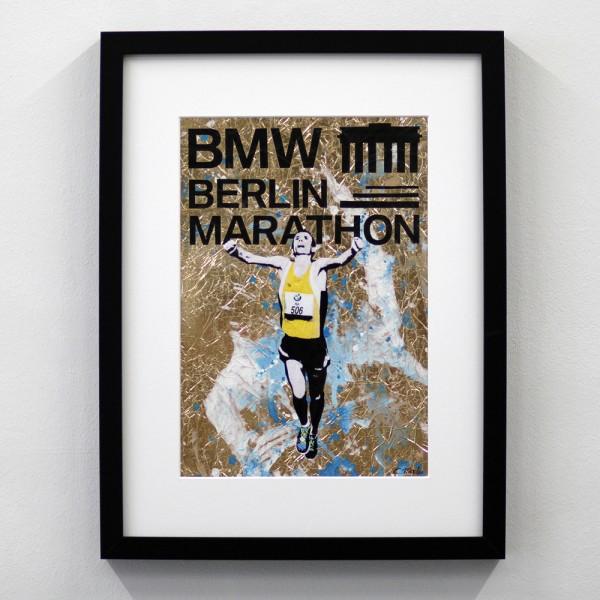 Berlin Marathon Logo Gold Blau
