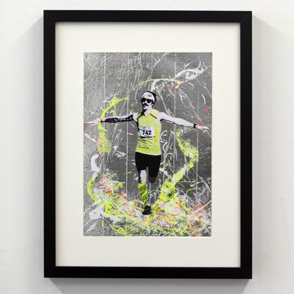 Läufer-Portrait Silber mit Gelb